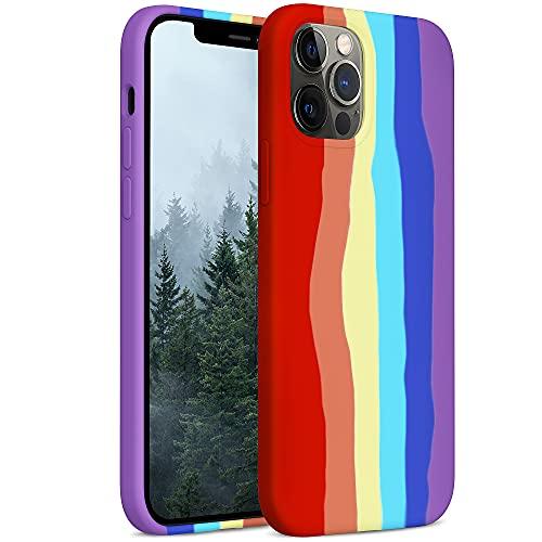 YATWIN Rainbow Compatibile con iPhone 12 Cover 6,1'', Compatibile con iPhone 12 PRO Cover Silicone Liquido, Protezione Completa del Corpo con Fodera in Microfibra, Arcobaleno