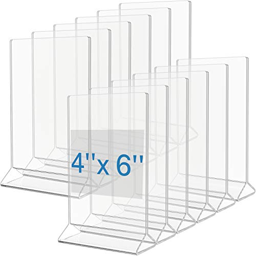 MaxGear Acrylic Sign Holder-Table Card Display-4 x 6 Inches Clear Sign Holder-Plastic Table Menu Stand-Double Sided Ad Picture Frame for Office, Home, Store, Restaurant, 12 Pack