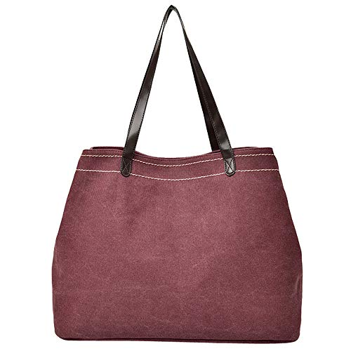 Amaping Womens Canvas Classic Pure Color Fashion Shoulder Hand Bag Coin Shopping Bag (Wine Red)