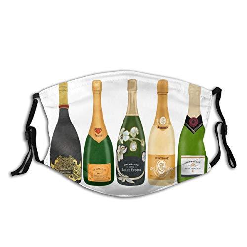 NIET Unisex gezicht Cover Verstelbare anti-stof-mond Cover wasbaar herbruikbare gezicht Cover voor fietsen Camping Travel-Champagne flessen