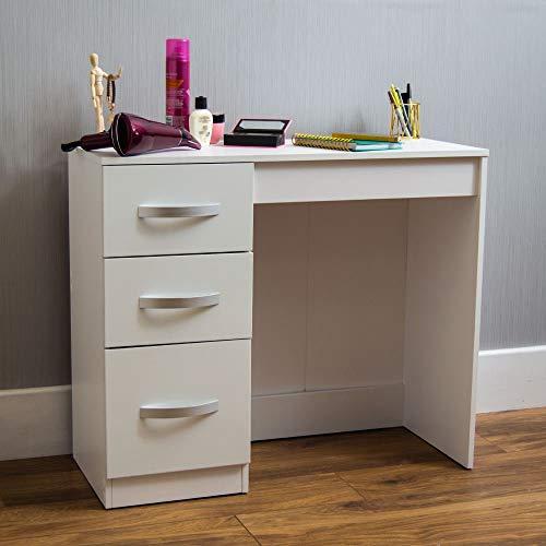 Amazon Brand - Movian Hulio High Gloss 3 Drawer Dressing Table, White, 79 x 93 x 38 cm
