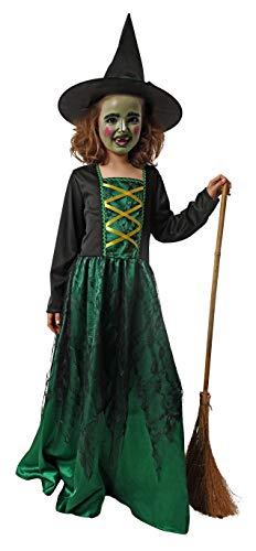 Gojoy Shop- Disfraz de Bruja Verde y Negra para Nia Halloween (Contiene Sombrero y Vestido, 4 Tallas Diferentes) (3-4 aos)