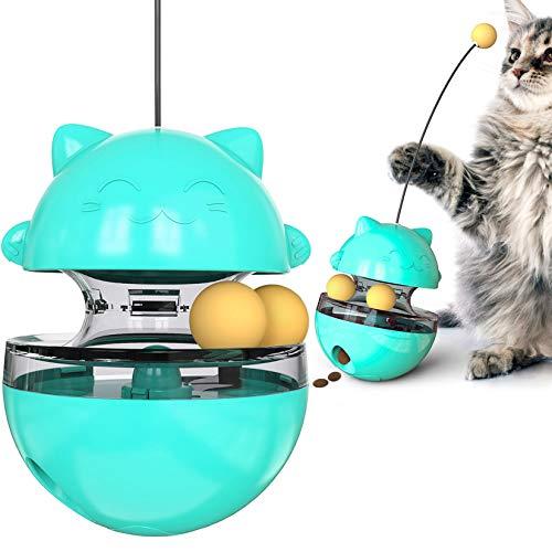 GothicBride Juguete Interactivo para Gatos , Bola de Inteligencia 4 en 1, Bola Giratoria con Dispensador de Comida, Utilizada para Juegos de Interior y Fitness para Gatos. (Azul)