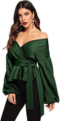SheIn Women s Long Sleeve V Neck Ruffle Blouse Off Shoulder Tie Waist Wrap Tops Small Green product image