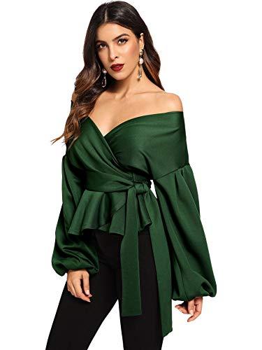 SheIn Women's Long Sleeve V Neck Ruffle Blouse Off Shoulder Tie Waist Wrap Tops Large Green