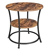 VASAGLE Side Table, Round End Table with 2 Shelves, Living Room, Bedroom, Easy Assembly, Metal, Industrial Design, Rustic Brown ULET56BX
