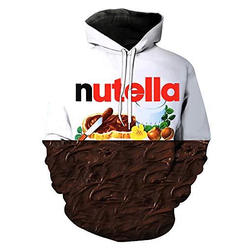 ZXTXGG mannen 3D hoodies pindakaas naam chocolade patroon digitale druk capuchon trui liefhebbers capuchon trui groothandel