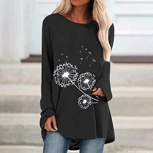 Damen Langarmshirt Rundhals Sweatshirt Pullover Casual Shirt Lose Oberteil Tunika Tops Modus Beiläufig Drucken O-Ausschnitt Lose Langarm T-Shirt Top Bluse Pullover
