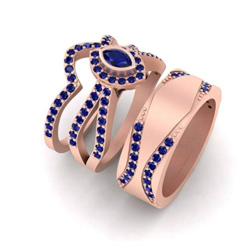 Juego de anillos de boda para él y ella de oro rosa Fn 925 de plata de ley 1,20 quilates de zafiro azul a juego para parejas