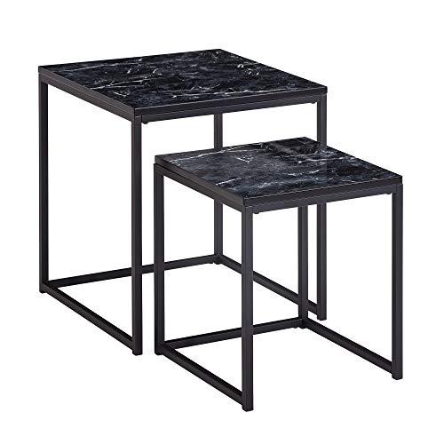 FineBuy Tavolini da Soggiorno Aspetto del Marmo Tavoli per Salotto Nera   Set di Tavolino Basso Quadrato Moderno   Tavolinetti da caffè Piccolo