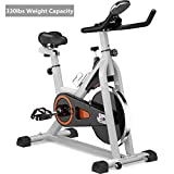 MORNOR Indoor Cycling Stationary Bike, Belt Drive Exercise Bike w/LCD Monitor & Ipad Mount for Home...