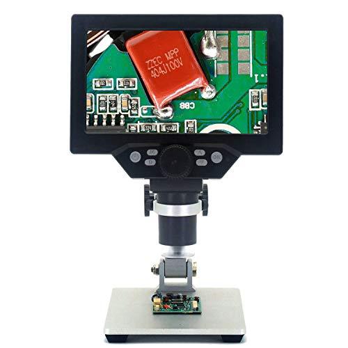 Emebay - Microscopio digital HD LCD de 7 pulgadas, batería recargable integrada, microscopios de vídeo electrónicos, 12 MP, microscopio, herramienta de soldadura con soporte de metal