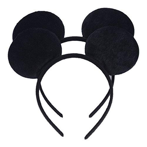 NiuZaiz Set of 2 Mouse Ears Headbands (Black)