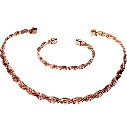 Sunshinesea Magnetic Copper Bracelets&Necklace Pain Relief for Neck Arthritis Migraine Headaches Shouldersfor Arthritis Wristband Cervical Pain