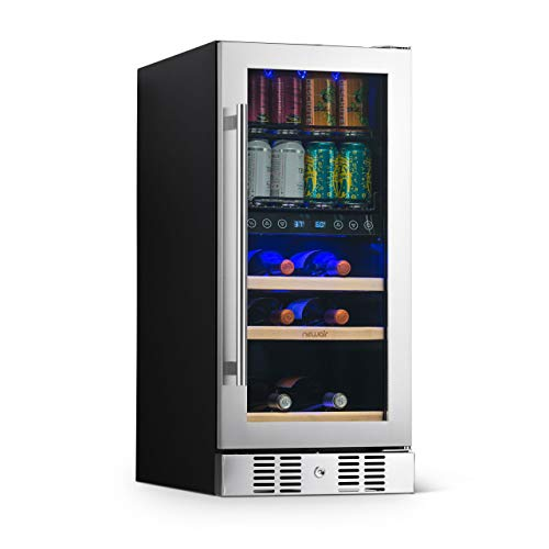 NewAir NWB057SS00 Wine and Beverage Refrigerator, Silver, 57 Bottle and Can