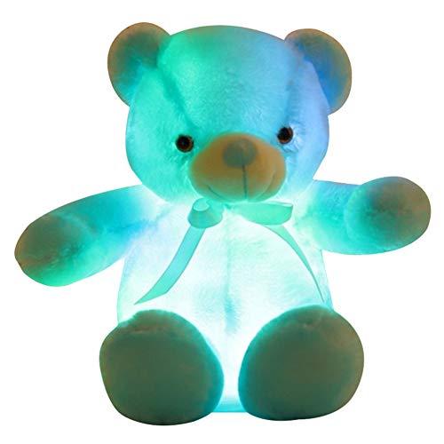 Gelentea Oso de peluche con luz LED azul de...