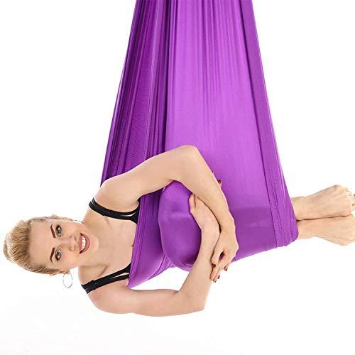 HIMABeauty Juego De Hamaca De Yoga con Accesorios, 196.85 * 110.23 Inch Aerial Yoga Swing para Colgarse Y Aliviar El Dolor De Espalda para Gimnasio, Hogar,Púrpura