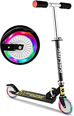 WeSkate B3 Scooter for Kids with LED Light Up Wheels, Adjustable Height Kick Scooters for Boys and Girls, Rear Fender Break|5lb Lightweight Folding Kids Scooter, 110lb Weight Capacity (Black/B3/FBA)