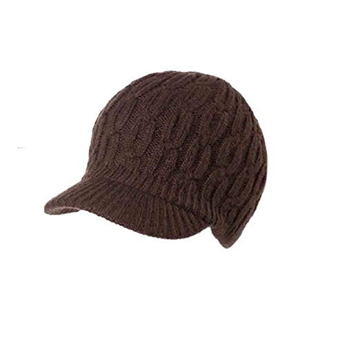 YDS SHOP dames winter Newsboy kabel gebreid vizier beanie muts, Duck Tongue design, driedimensionaal breipatroon Coffee Color