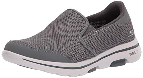 Skechers Men's Gowalk 5 Apprize-Double Gore Slip on Performance Walking Shoe Sneaker, Grey, 7.5