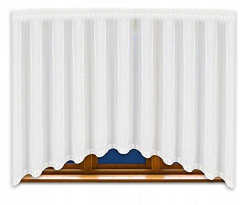 FKL Schöne Fertiggardine Fenstergardine Gardine aus Voile mit Faltenband Kräuselband Store Bogen Kurz Modern Weiß 150x400 cm LB-165