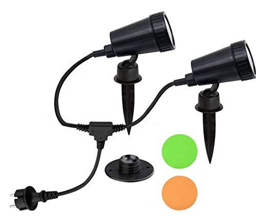 Trango 2-flammig IP44 Gartenstrahler 3077 Außenleuchte incl. je 1x GU10 LED Leuchtmittel & 2,95 Meter Zuleitungskabel Teichlampe, Gartenleuchte, Außenlampe, Wegbeleuchtung
