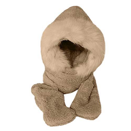 2019 Nuovo Donna Inverno Caldo Morbido Finto Pelliccia soffice Cappuccio Sciarpa Cappello Snood Tasca Cappelli Guanti Set By WUDUBE