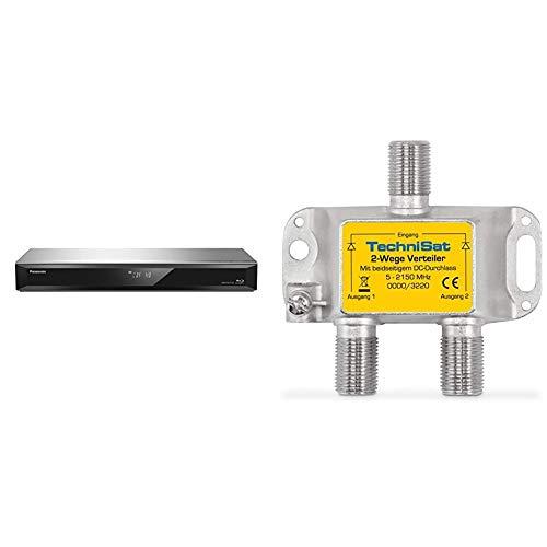 Panasonic DMR-BST765EG Blu-ray Recorder (500GB HDD, Wiedergabe von Blu-ray Discs, 2X DVB-S/ S2, 2X DiSEqC, Vers. 2.0, Silber) & TechniSat 2-Wege Sat-Verteiler