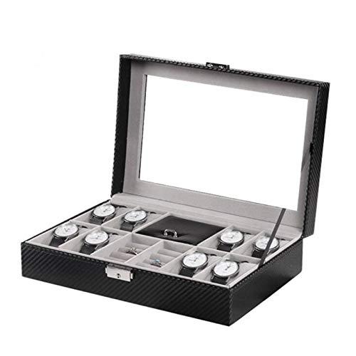 Reloj con caja de almacenamiento con 8 ranuras para reloj y 8 ranuras de anilla, caja de piel de fibra de carbono, colección de joyas con tapa de cristal