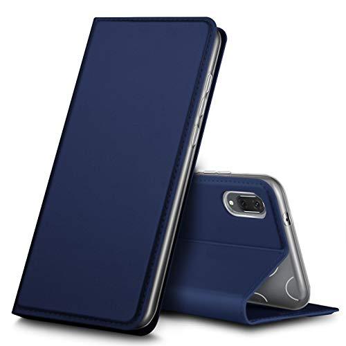 Verco Handyhülle für Y6 2019, Premium Handy Flip Cover für Huawei Y6 (2019) Hülle [integr. Magnet] Book Hülle PU Leder Tasche, Blau