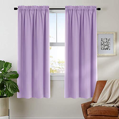 Curtain Lilac Room Darkening Living Room 72 inches Long Window Curtain Panel Bedroom Drape Triple Weave Rod Pocket Window Curtain 52' Wx 72' L,1 Panel