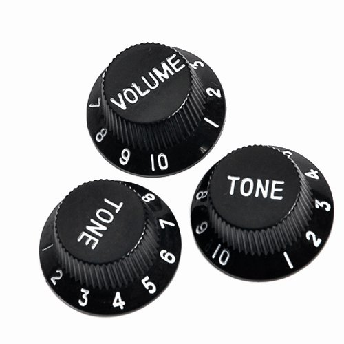 Kmise A0007 3 Piece Speed Control Knobs One Volume Two Tones - Electric Guitar Parts, Black
