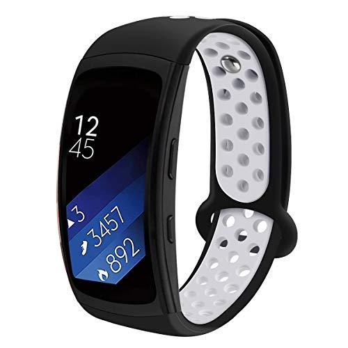 Aresh kompatibel mit Samsung Gear Fit 2 Armband & Samsung Gear Fit 2 Pro Uhrenarmband, Weiche Silikon Sport Ersatz Armband (D-Schwarz Weiß)