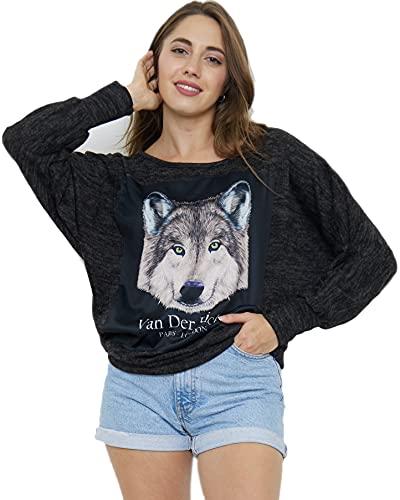 Van Der Rich ® - Jersey con Estampado Digital de Lobo - Mujer (Lobo, M-L)