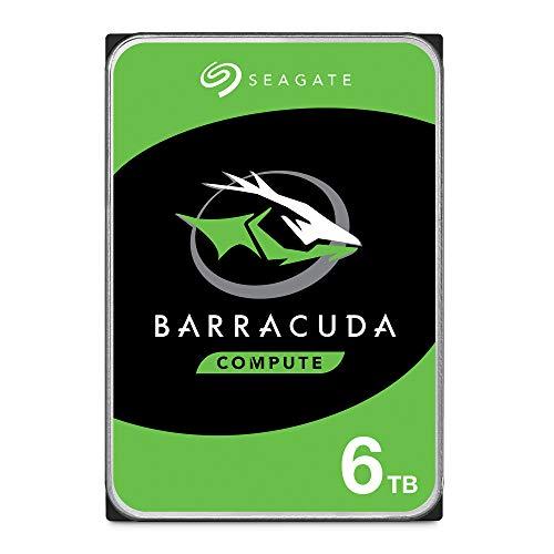 SeagateBarracuda, interne Festplatte 6 TB HDD, 3.5 Zoll, 5400 U/Min, 256 MB Cache, SATA 6 Gb/s, silber, Modellnr.: ST6000DM003