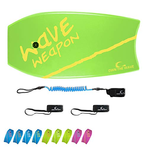 """Own the Wave 41"""" Body Board Pack with Coiled Leash and Swim Flippers Leash - HDPE Slick Bottom and EPS Core - Boogie Board for Kids and Adults - Perfect for Surfing and Beach (Green & Yellow)"""