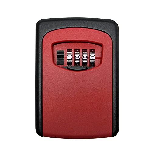 Caja de bloqueo de almacenamiento de llaves,Funien Caja de bloqueo de almacenamiento de llaves para exteriores montada en la pared Caja de seguridad de llave de contraseña de combinación de 4 dígitos