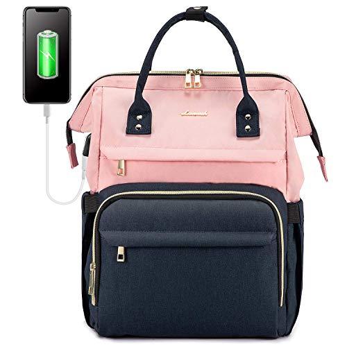 LOVEVOOK Rucksack Damen mit Laptopfach 17 Zoll, Laptop Rucksack wasserdicht, Schulrucksack Tasche mädchen mit USB Ladeanschluss, Rosa Marineblau