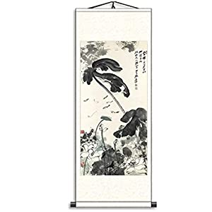 Skyseen Asian Silk Scroll & Lotus Flowers Picture Scroll & Wall Scroll Calligraphy Hanging Artwork Painting