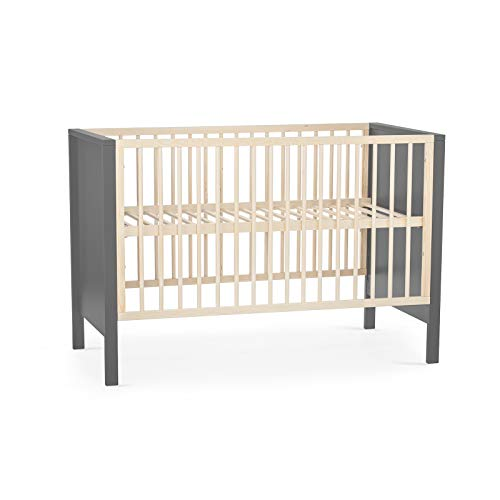 Kinderkraft Kinderbett MIA, Babybett aus Holz, Gitterbett, Bettumrandung, 3 Stufen Höhenverstellbar, von Geburt bis zu Höhe 120 cm, Grau