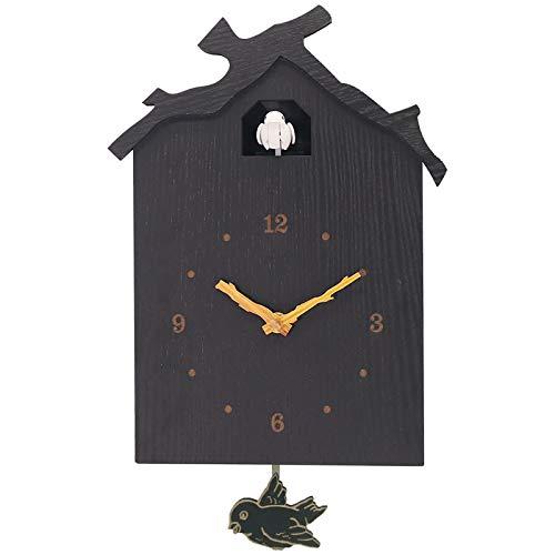 GJCrafts Reloj de pared de cuco, creativo de madera, para colgar en la pared, sonido natural de pájaros, reloj de pared para decoración del hogar, oficina, cafetería (negro)