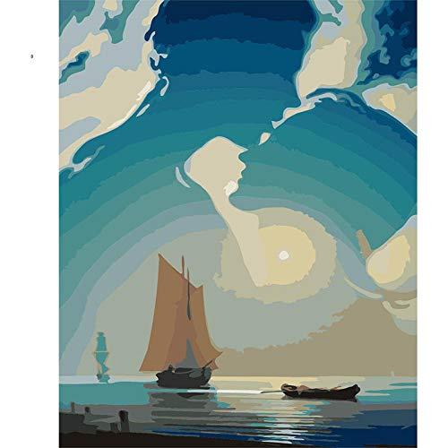 JieXi Mi binbin Titanic Ölgemälde Bilder Malen nach Zahlen DIY Digitales Ölgemälde auf Leinwand Wohnkultur Für Wohnzimmer 40x50cm-Mit Rahmen