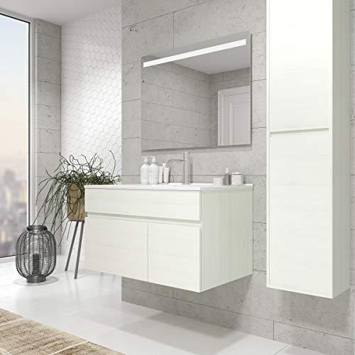 CTESI Mueble de baño Suspendido con Lavabo de Porcelana - 1 cajón o 1 cajón y 1 Puerta - El Mueble va MONTADO - Modelo Soki (80 cms, Virginia)