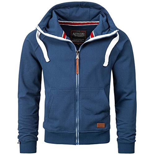 Alessandro Salvarini Herren Sweatjacke Kapuzenpullover Jacke Kapuze Hoodie Sweater AS192 [AS-192-Petrolblau-Gr.L]