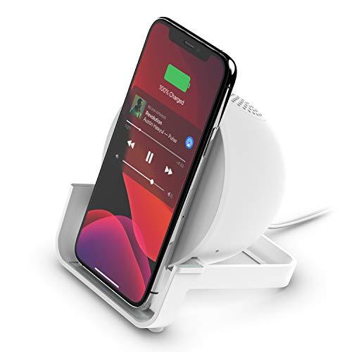 Belkin Wireless Charging Speaker (Wireless Charging Stand + Bluetooth Speaker Charger) Charge While Listening to Music, Streaming Videos, Video Calls, White (AUF001ttWH)