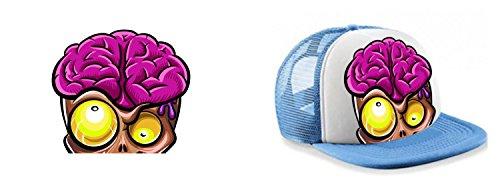 Colour Fashion Casquette Trucker Zombie Brain 9 Couleurs au Choix Bleu Cobalt Noir Rouge Marine Bleu Ciel Orange Rose Vert Jaune Unisexe pour Femmes Bleu Ciel