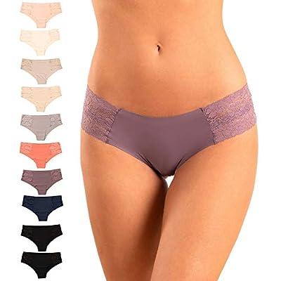 Pretty Sweet Basics Women?s Laser Cut Bikini Cheeky Hipster Panties, Pack of 10, Pastel Colors, Medium