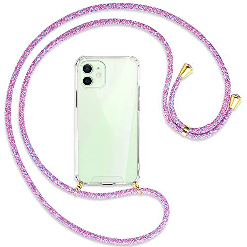 mtb more energy Collana Smartphone per Apple iPhone 12, 12 PRO (6.1'') - Unicorno Viola/Oro - Custodia indossabile per Collo - Cover a Tracolla con cordina