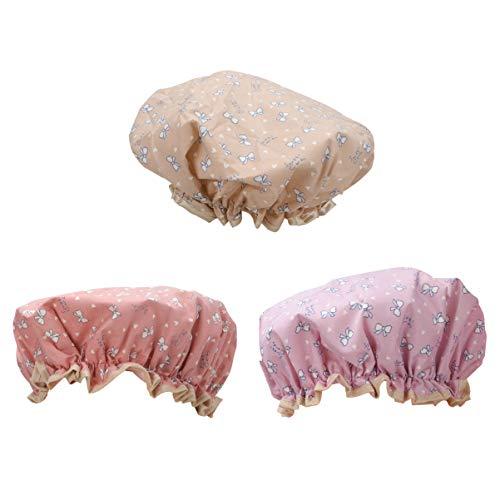 EXCEART 3Pcs Bonnets de Douche Réutilisables Bowknot Chapeaux de Douche Imprimés Chapeaux de Cuisine Étanches à L'huile pour Bain Douche Spa Maquillag