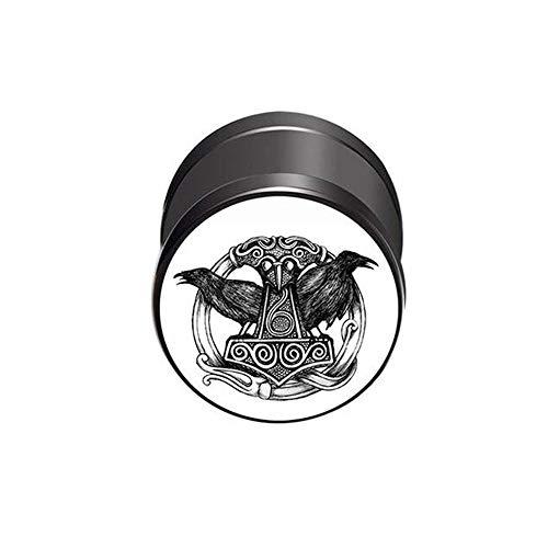 BlackAmazement Pendiente falso dilatador de acero inoxidable 316L, diseño del martillo de Thor, símbolo Mjolnir Malmer, cuervo, cuervo, 10 mm, color blanco, negro, para hombre y mujer